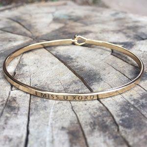 """I Miss You XoXo"" danity Gold Bracelet"